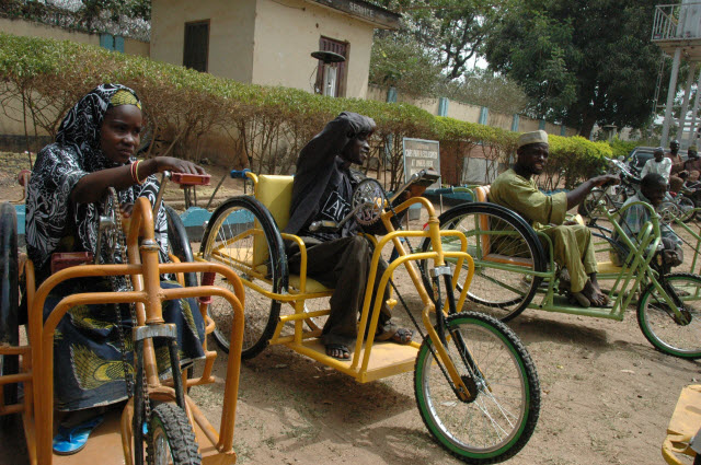 Wheelchairs with polio survivors